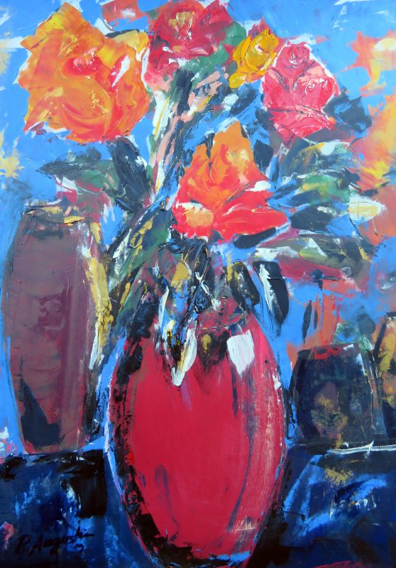 Red Roses Acrylic on Canvas  670 740mm - NZ$2050