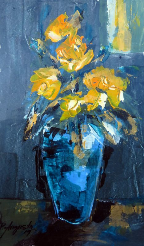 Blue Vase with Yellow Roses Acrylic on Canvas  390 x 550mm - NZ$2050