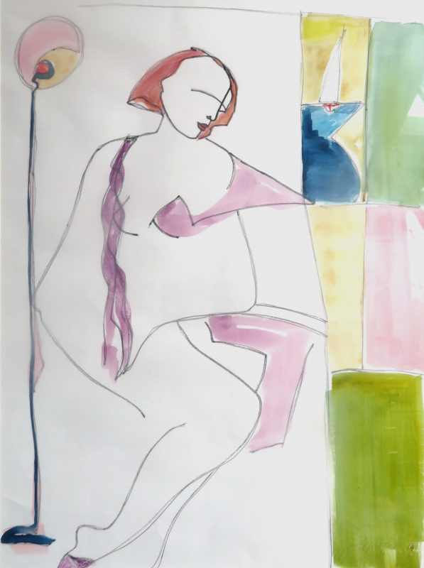 Waiting for the Captain Watercolour on Paper 740 x 860mm - SOLD